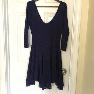 Free People Lace Blue Dress Long Sleeves Sz Large